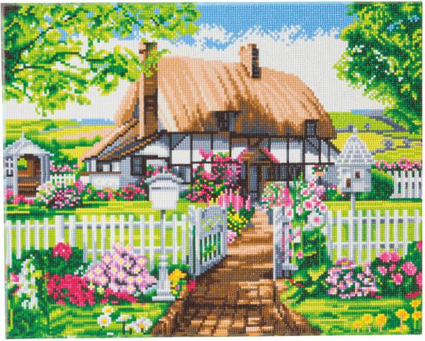 Crystal Art Landhaus mit Rosengarten 40x50 cm