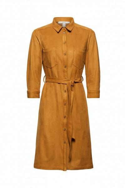 Recycelt: Hemdblusenkleid in Lederoptik