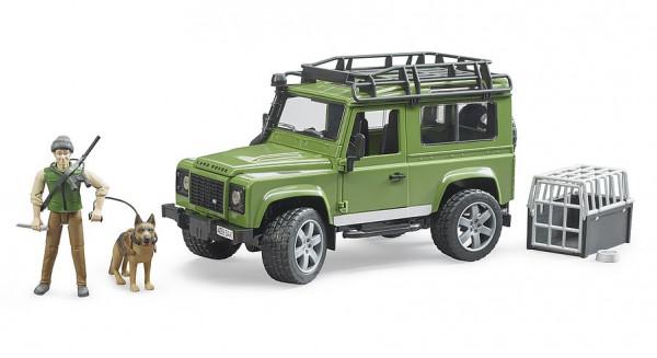 Land Rover Defender Station Wagon mit Förster und Hund