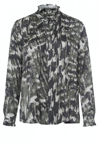 Bluse mit abstraktem Camouflageprint