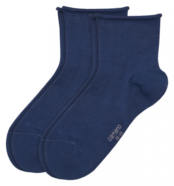 Women cotton fine rolled cuff Socks 2p