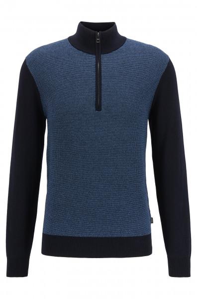 Pullover aus Baumwolle mit Schurwolle und Troyerkragen