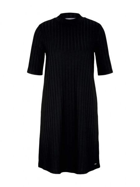 Kurzes Ripp Kleid mit Stehkragen