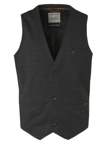 Gilet Printed Check Jersey Unlined Stretch