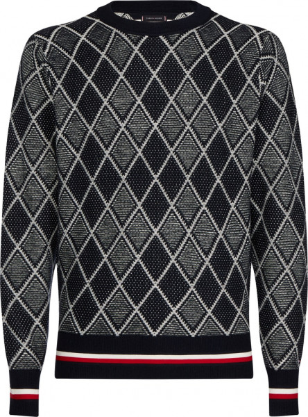 TIPPED TWO COLOR ARGYLE SWEATER