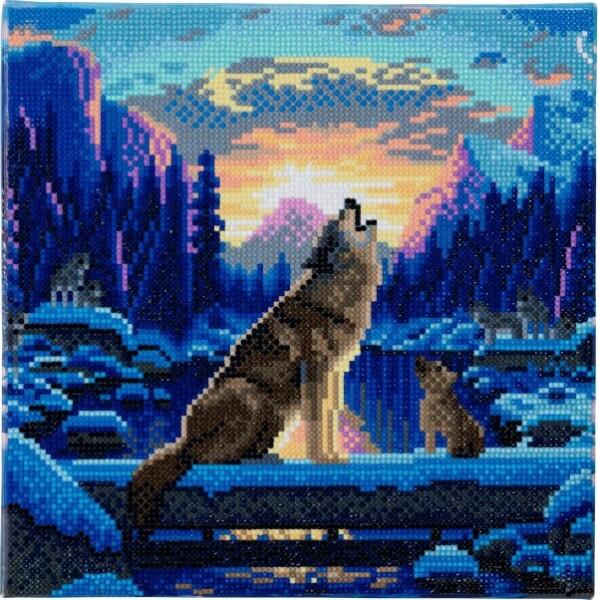 Crystal Art Leinwand Heulende Wölfe 30x30 cm